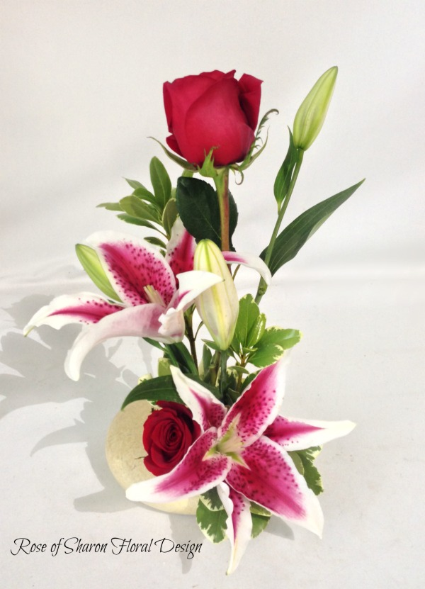 Contemporary Lily and Rose Arrangement, Rose of Sharon Floral Designs