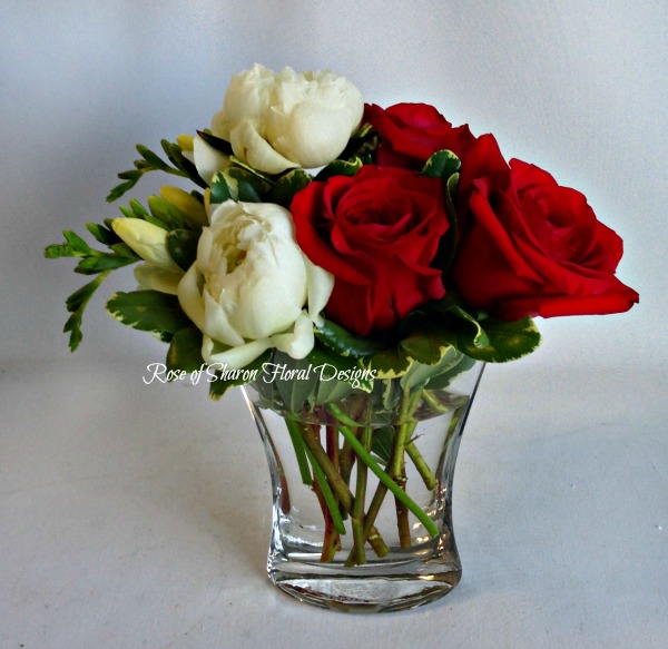 Rose and Peony Arrangement, Rose of Sharon Floral Designs