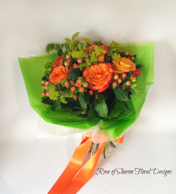Hand Tied Rose and Hypericum Berry Bouquet, Rose of Sharon Floral Designs