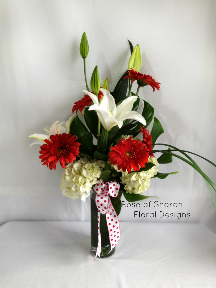 White Lilies and Hydrangeas with Daisies, Rose of Sharon Floral Designs