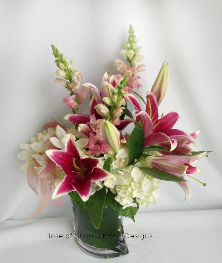 Hydrangea, Stock , Lily Arrangement, Rose of Sharon Floral Designs