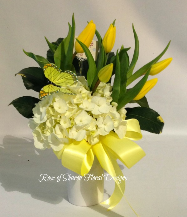 Hydrangea with Yellow Tulips, Rose of Sharon Floral Designs