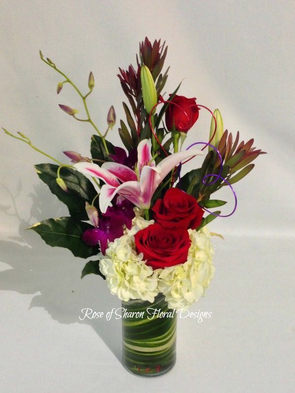 Lily, Orchid and Rose Arrangement, Rose of Sharon Floral Designs