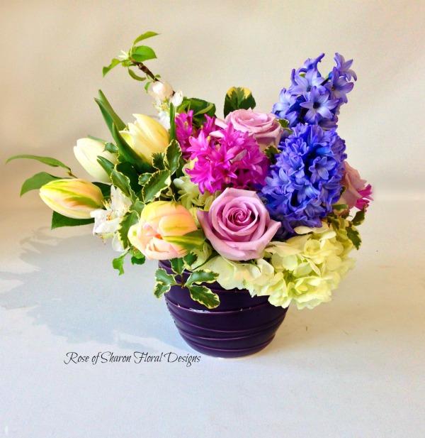 Garden Arrangement Hyacinths, Tulips and Roses, Rose of Sharon Floral Designs