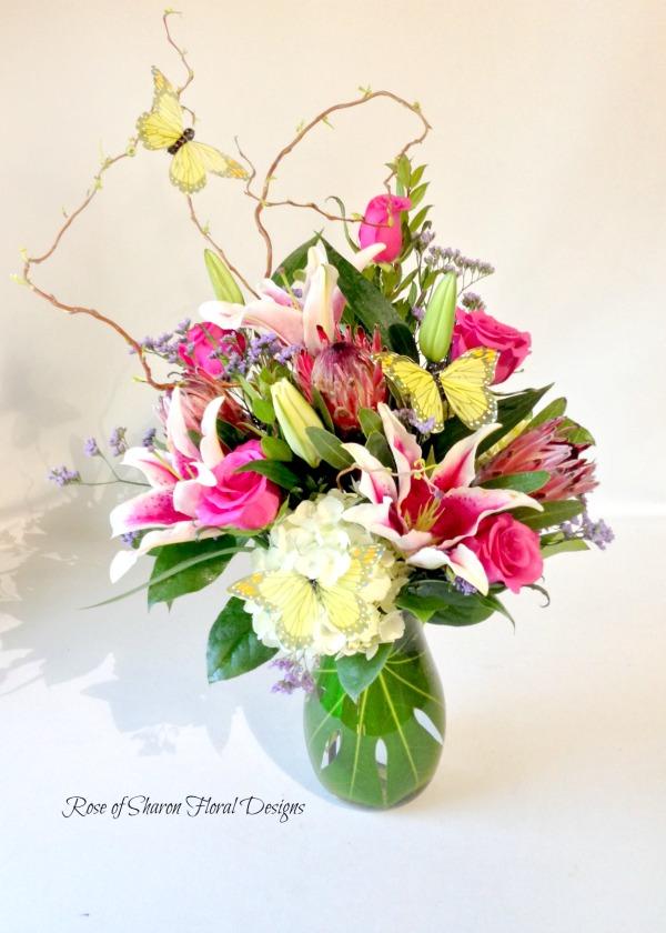 Garden Arrangement with Lilies, Rose of Sharon Floral Designs