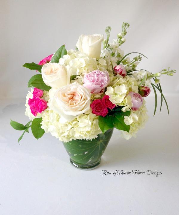 Garden Rose and Hydrangea Arrangement, Rose of Sharon Floral Designs