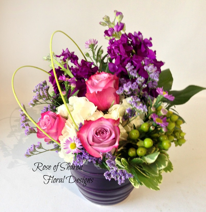 Hydrangea, Rose, Stock Arrangement, Rose of Sharon Floral Designs