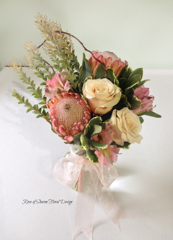 Protea, Roses and Alstroemeria, Rose of Sharon Floral Designs
