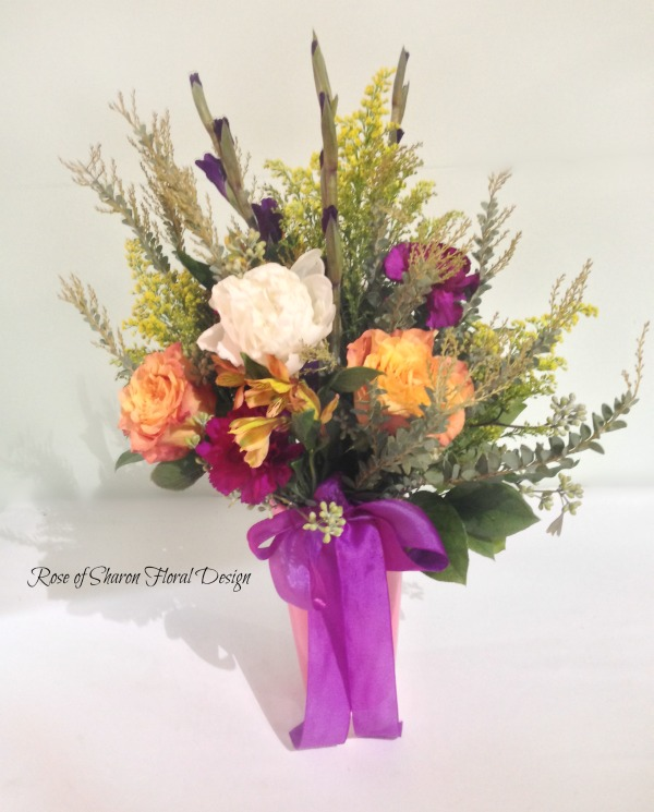 Free Spirit Roses, Carnations and Gladiolus, Rose of Sharon Floral Designs