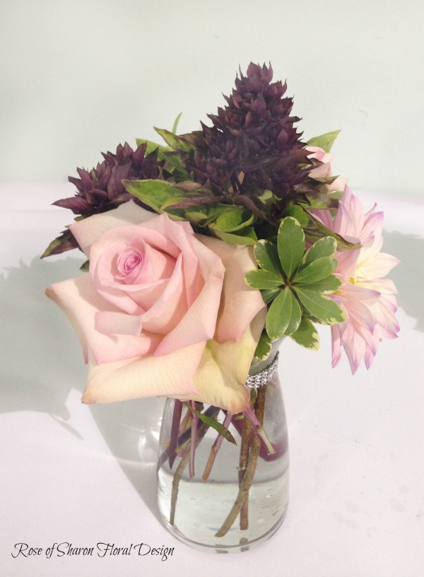 Dahlias, Roses and Basil, Rose of Sharon Floral Designs