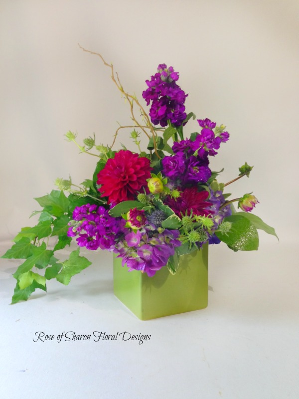 Stock and Dahlias, Rose of Sharon Floral Designs