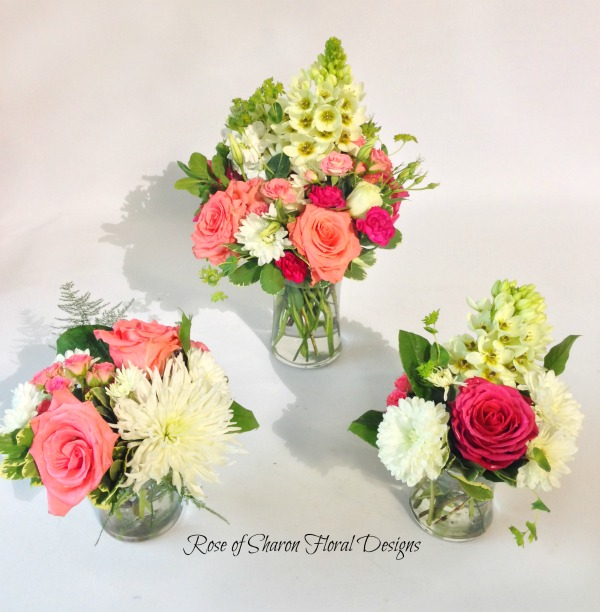 Spring Garden Arrangement with Roses and Star of Bethlehem, Rose of Sharon Floral Desgins