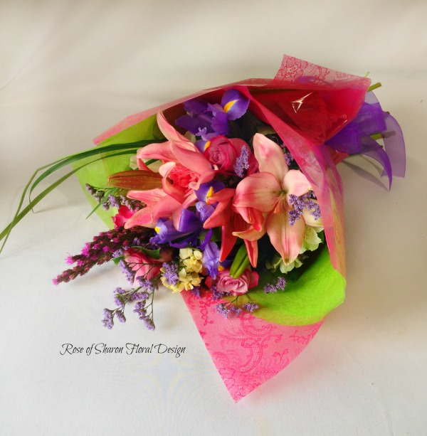 Hand Tied Bouquet with Lilies and Irises, Rose of Sharon Floral Designs