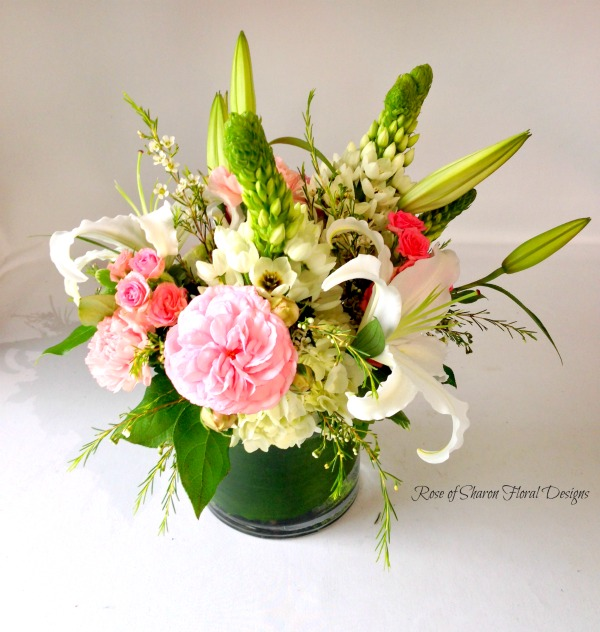 Contemporary Spring Arrangement with Carnations, Lilies and Star of Bethlehem, Rose of Sharon Floral Designs