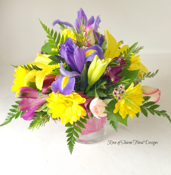 Irises, Alstroemeria, Roses and Daisies, Rose of Sharon Floral Designs