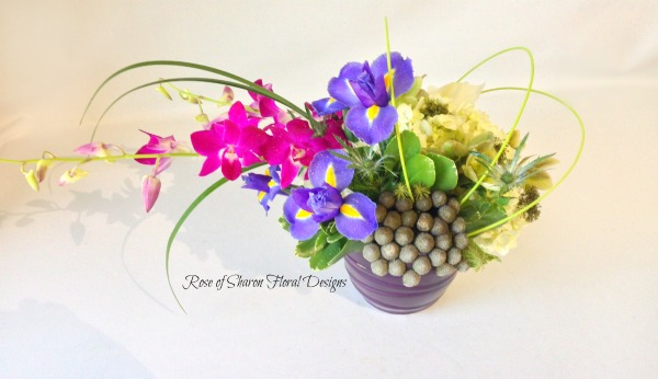 Contemporary Hydrangeas, Irises and Orchids, Rose of Sharon Floral Designs