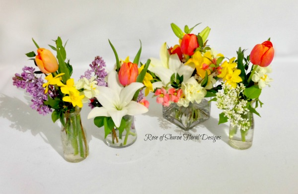 Mixed Spring Seasonal Flower Vases, Rose of Sharon Floral Designs