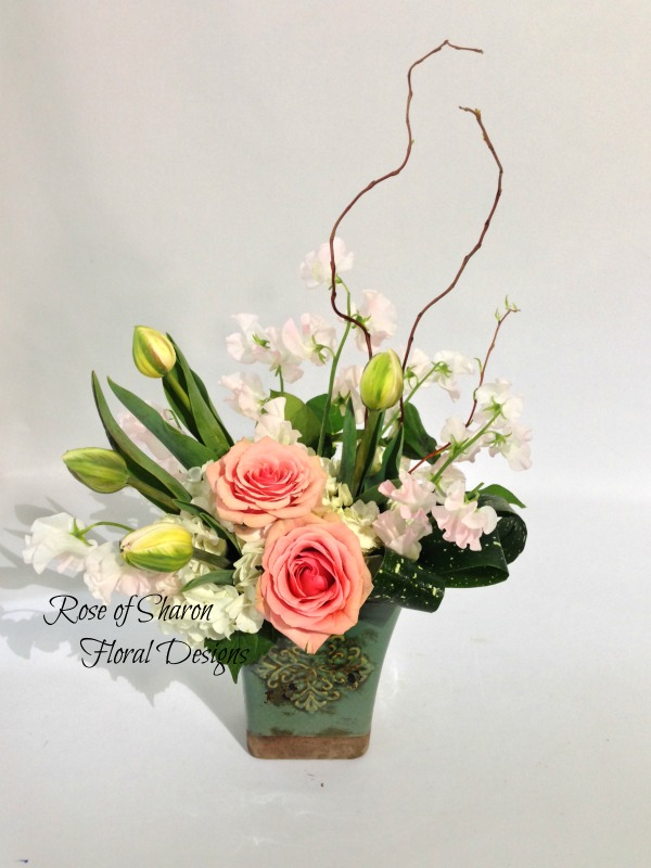 Hydrangea, Rose, Tulip and Sweet Pea Arrangement, Rose of Sharon Floral Designs
