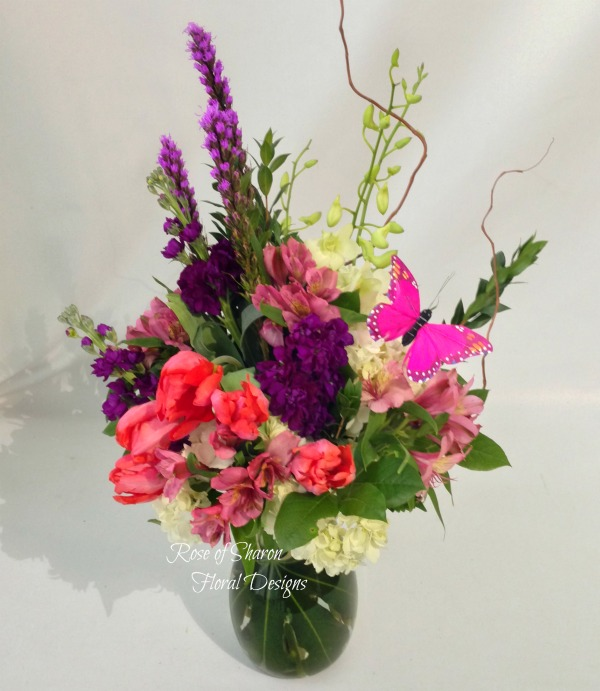 Mixed Spring Arrangement with Tulips and Orchids, Rose of Sharon Floral Designs
