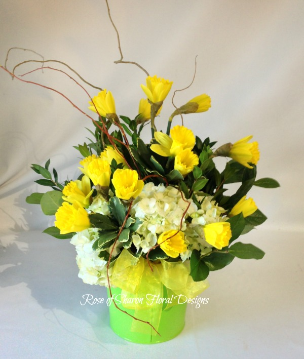 Daffodils and Hydrangeas, Rose of Sharon Floral Designs