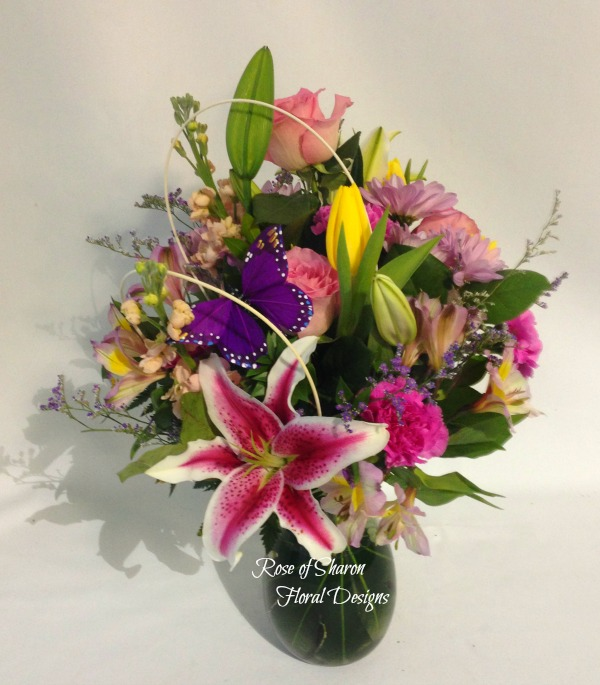 Mixed Spring Arrangement with Lilies, Rose of Sharon Floral Designs