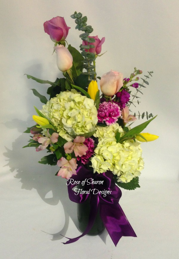 Contemporary Arrangement with Hydrangea, Roses and Tulips, Rose of Sharon Floral Designs