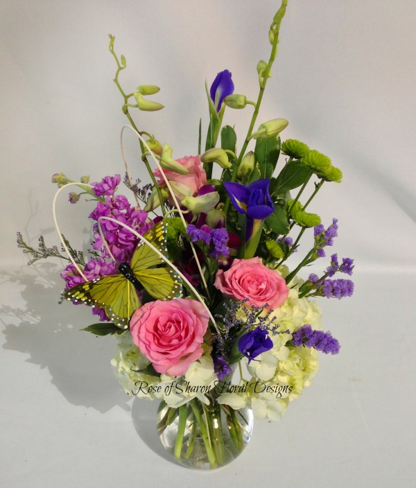 Mixed Spring Arrangement with Orchids, Rose of Sharon Floral Designs