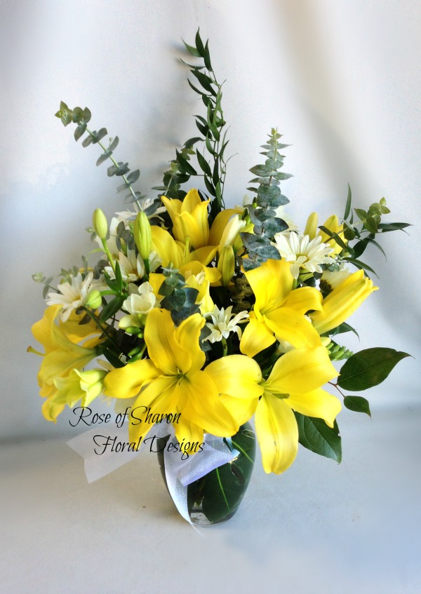 Yellow Lilies and White Daisies, Rose of Sharon Floral Designs