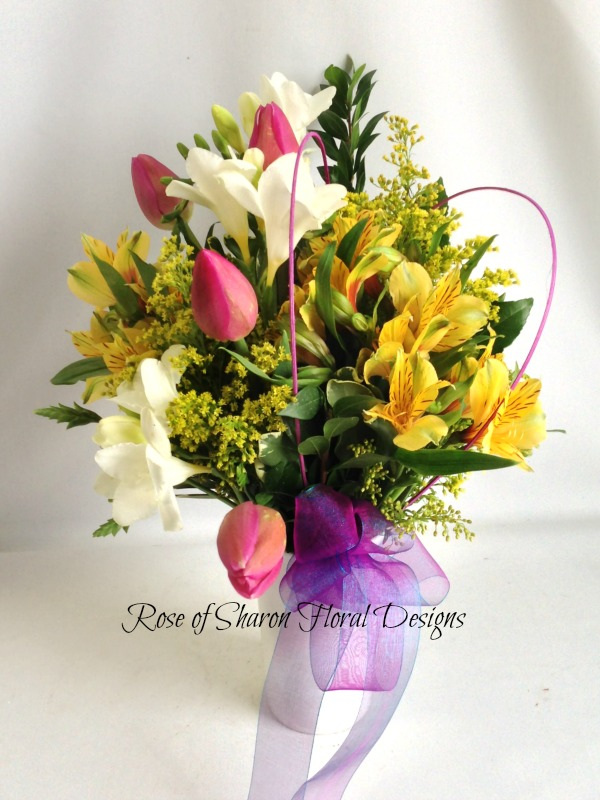 Freesia, Alstroemeria and Tulips, Rose of Sharon Floral Designs