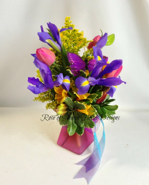 Irises, Tulips and Alstroemeria, Rose of Sharon Floral Designs
