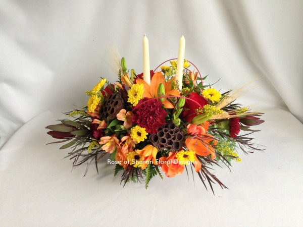 Fall Centerpiece with Lotus Pods and Wheat, Rose of Sharon Floral Designs