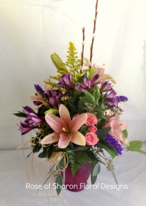 Garden Arrangement with Lilies, Rose of Sharon Floral Designs