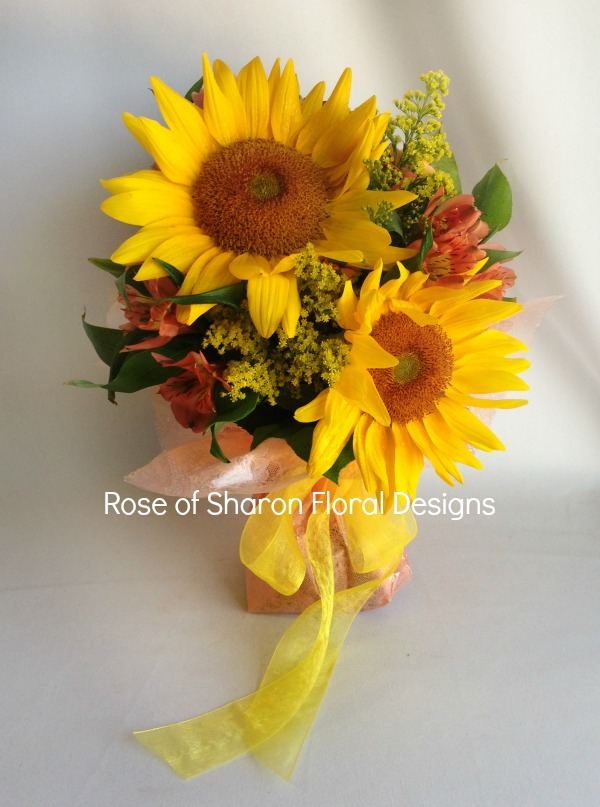 Sunflowers, Solidago and Alstroemeria, Rose of Sharon Floral Designs