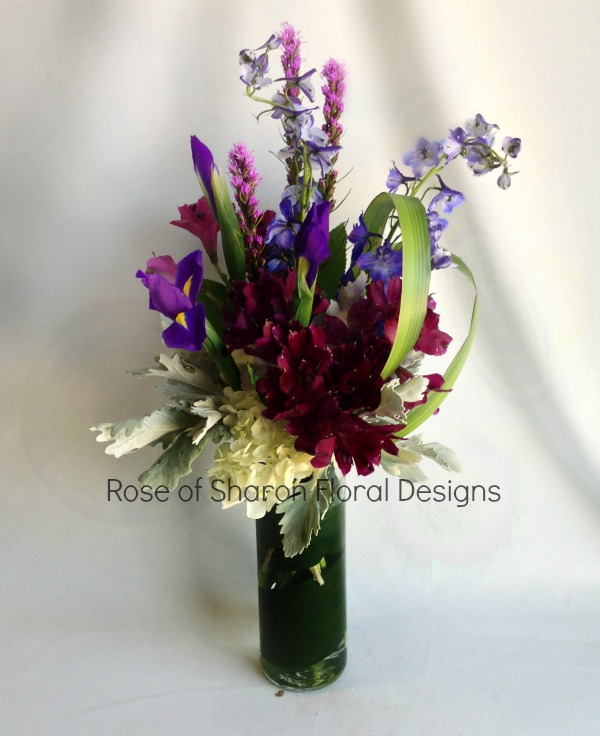 Alstroemeria, Irises and Delphinium, Rose of Sharon Floral Designs
