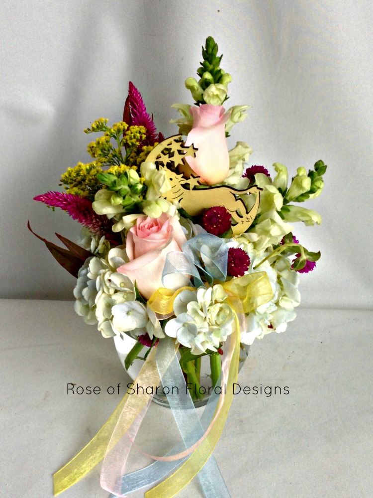 Over the Moon Baby Arrangement, Rose of Sharon Floral Designs