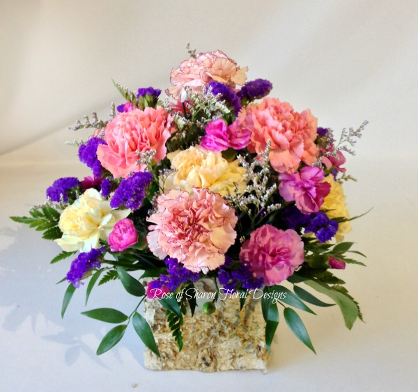 Carnation and Statice Arrangement in a Birch Wood Container, Rose of Sharon Floral Designs