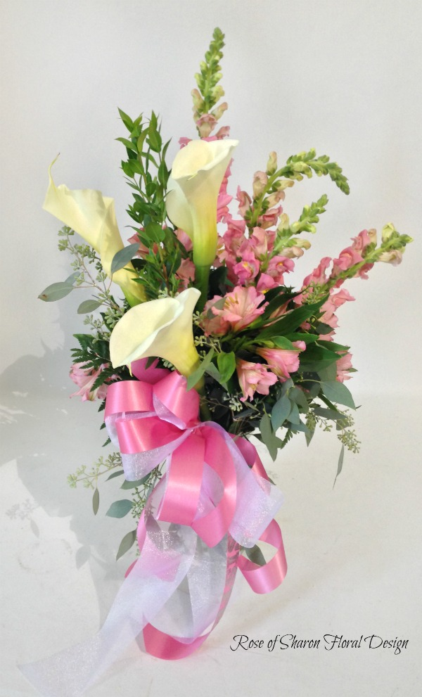 Pink and White Baby Arrangement with Tulips, Alstroemeria Lilies and Snapdragons, Rose of Sharon Floral Designs