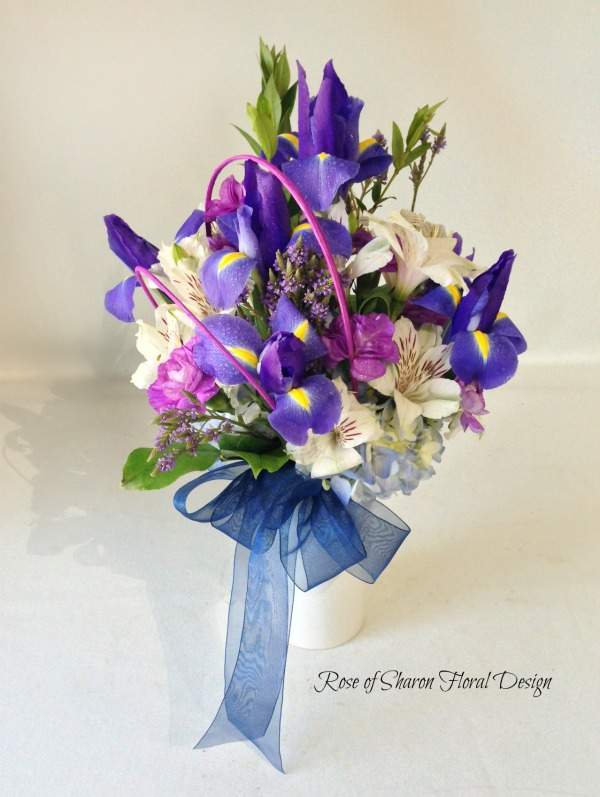 Iris and Alstroemeria Lily Baby Arrangement, Rose of Sharon Floral Designs