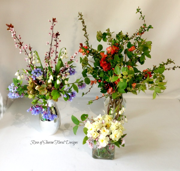 Mixed Spring Garden Arrangements, Rose of Sharon Floral Designs
