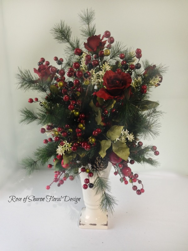 Berry and Rose Silk Holiday Arrangement, Rose of Sharon Floral Designs
