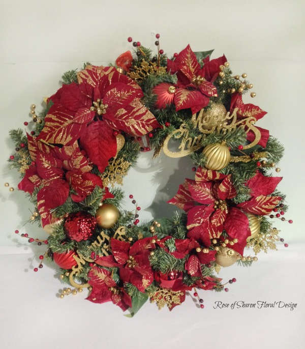 Red and Gold Silk Poinsettia Wreath, Rose of Sharon Floral Designs