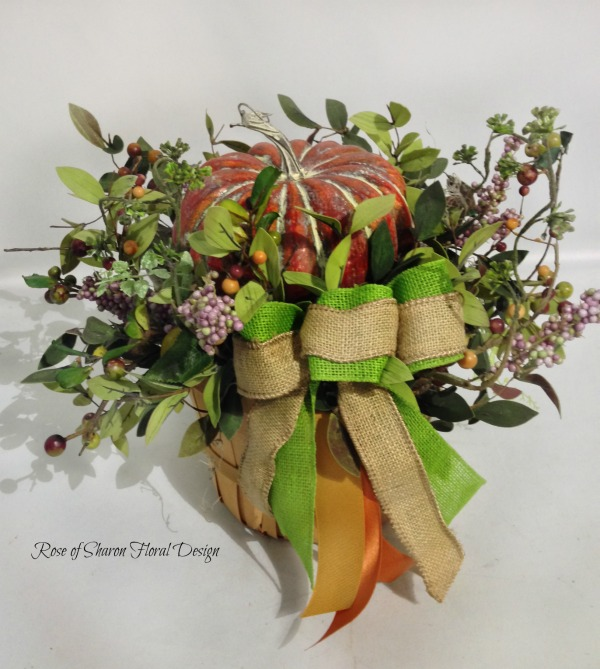 Silk Pumpkin Basket, Rose of Sharon Floral Designs