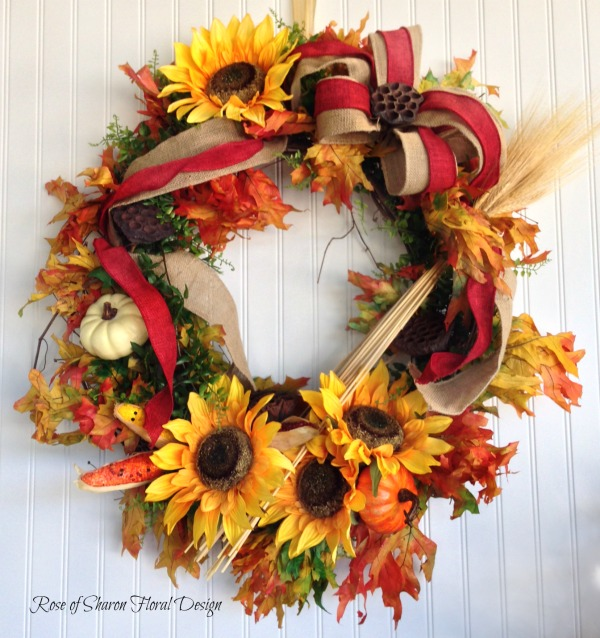 Fall Sunflower Wreath, Rose of Sharon Floral Designs
