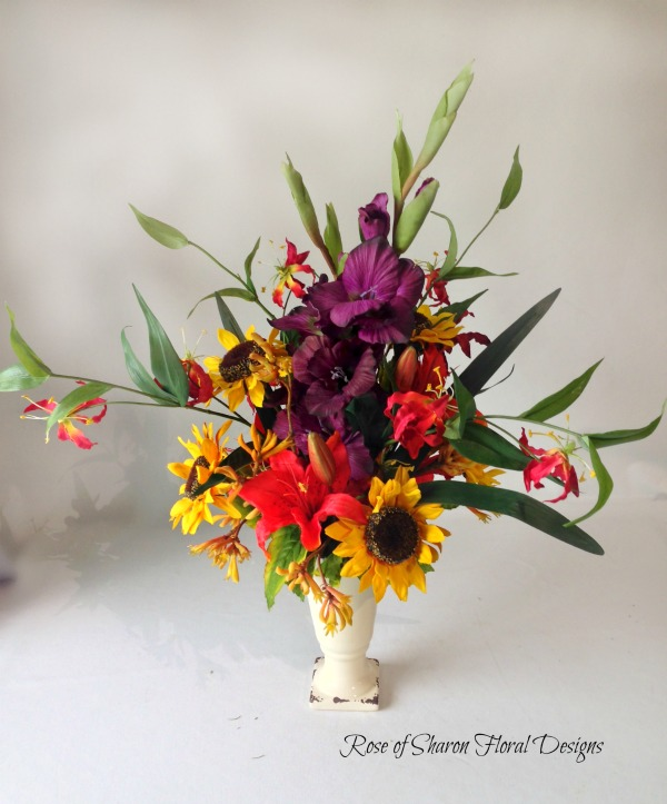 Silk Arrangement with Gladiolus, Sunflowers and Lilies, Rose of Sharon Floral Designs
