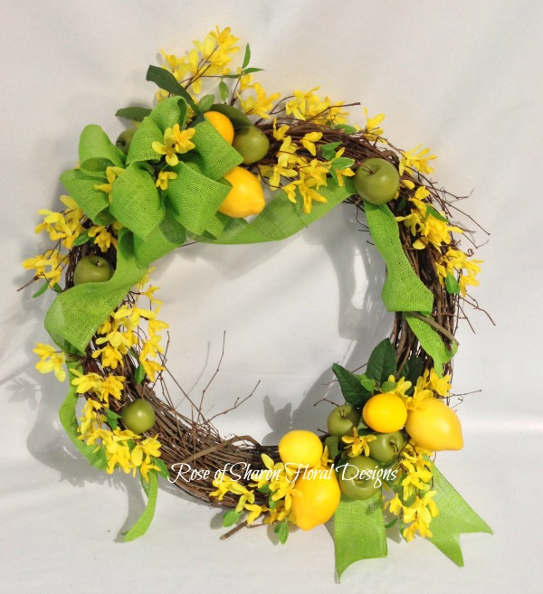 Apple and Lemon Wreath with Forsythia, Rose of Sharon Floral Designs