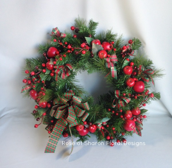 Red Berry and Apple Silk Wreath, Rose of Sharon Floral Designs