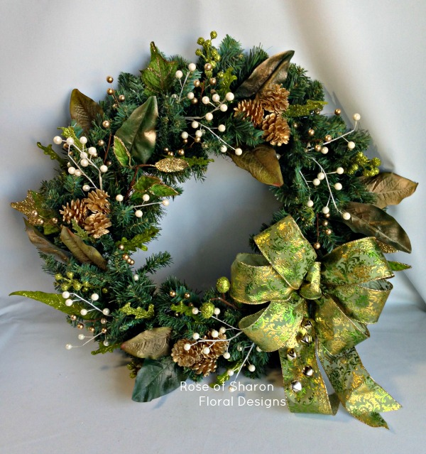 Gold and Green Silk Holiday Wreath, Rose of Sharon Floral Designs