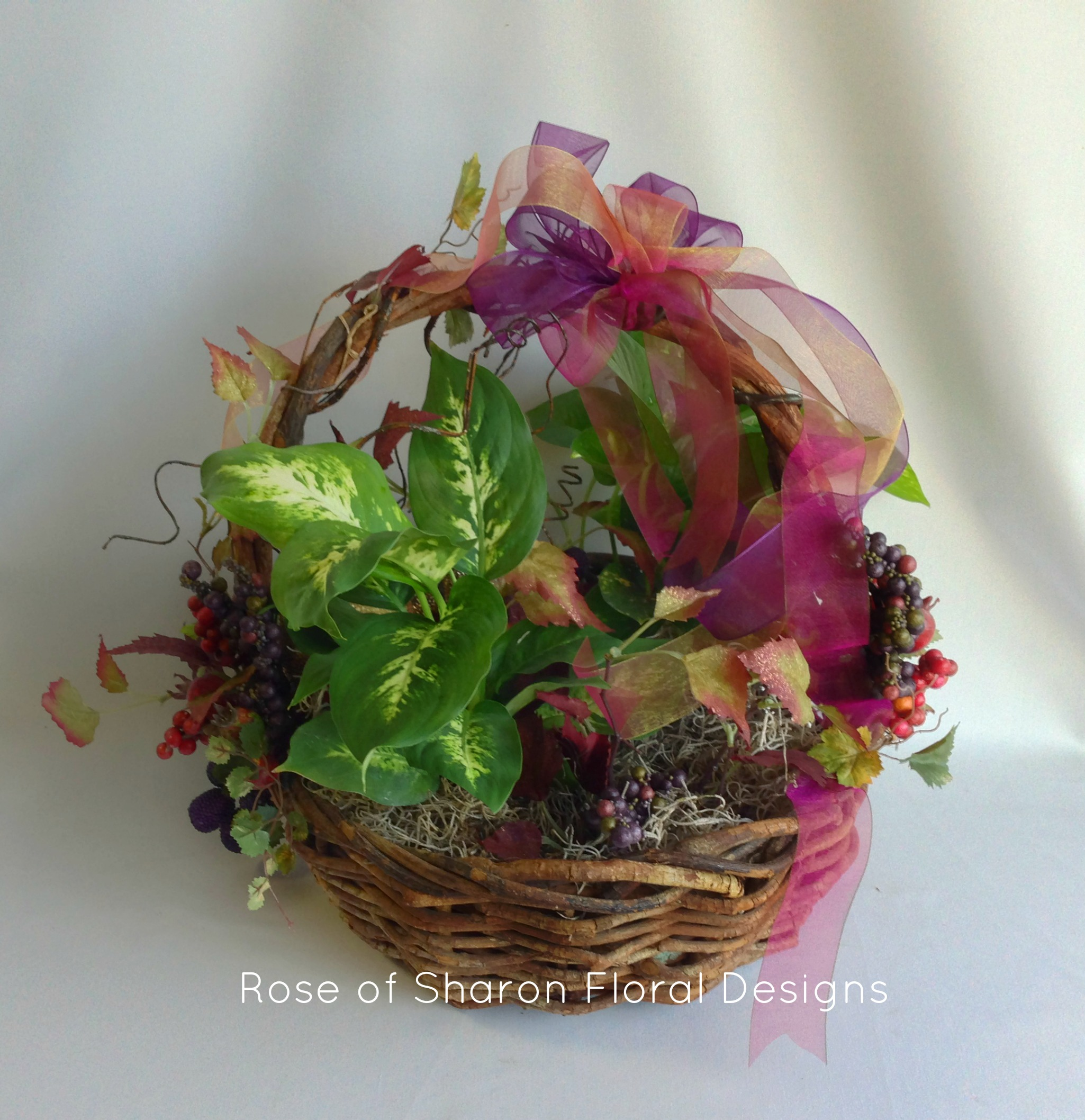 Fall Foliage Basket, Rose of Sharon Floral Designs