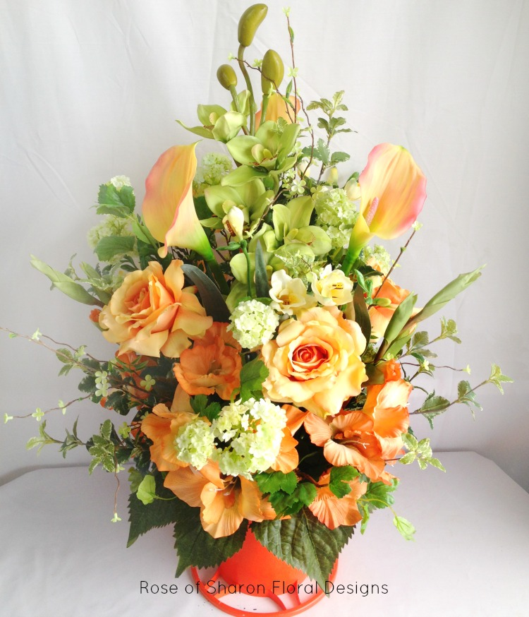 Orange Silk Arrangement with Calla Lilies, Roses and Orchids, Rose of Sharon Floral Designs