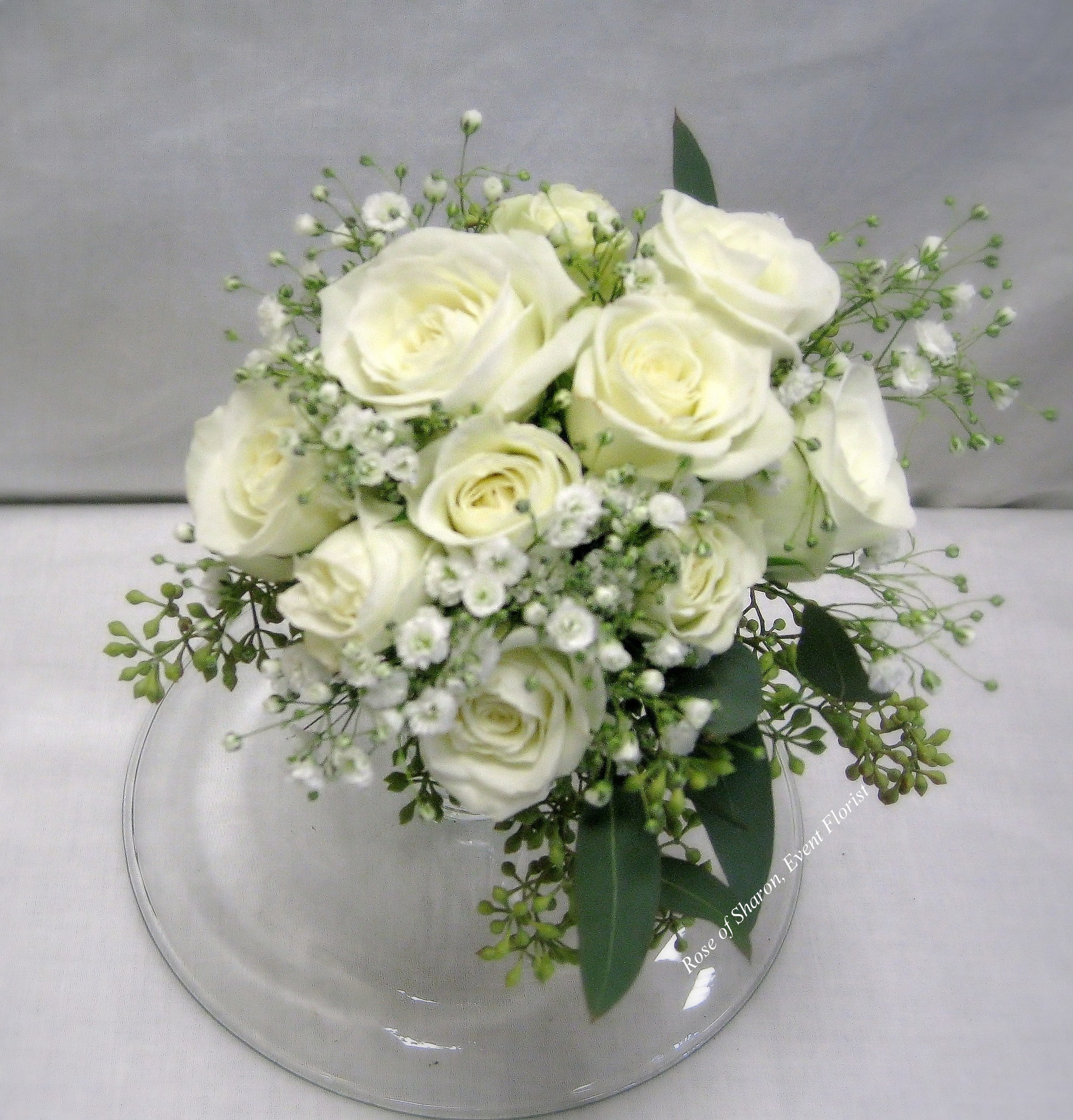 Hand-Tied White Rose and Baby's Breath Bouquet. Rose of Sharon Floral Designs